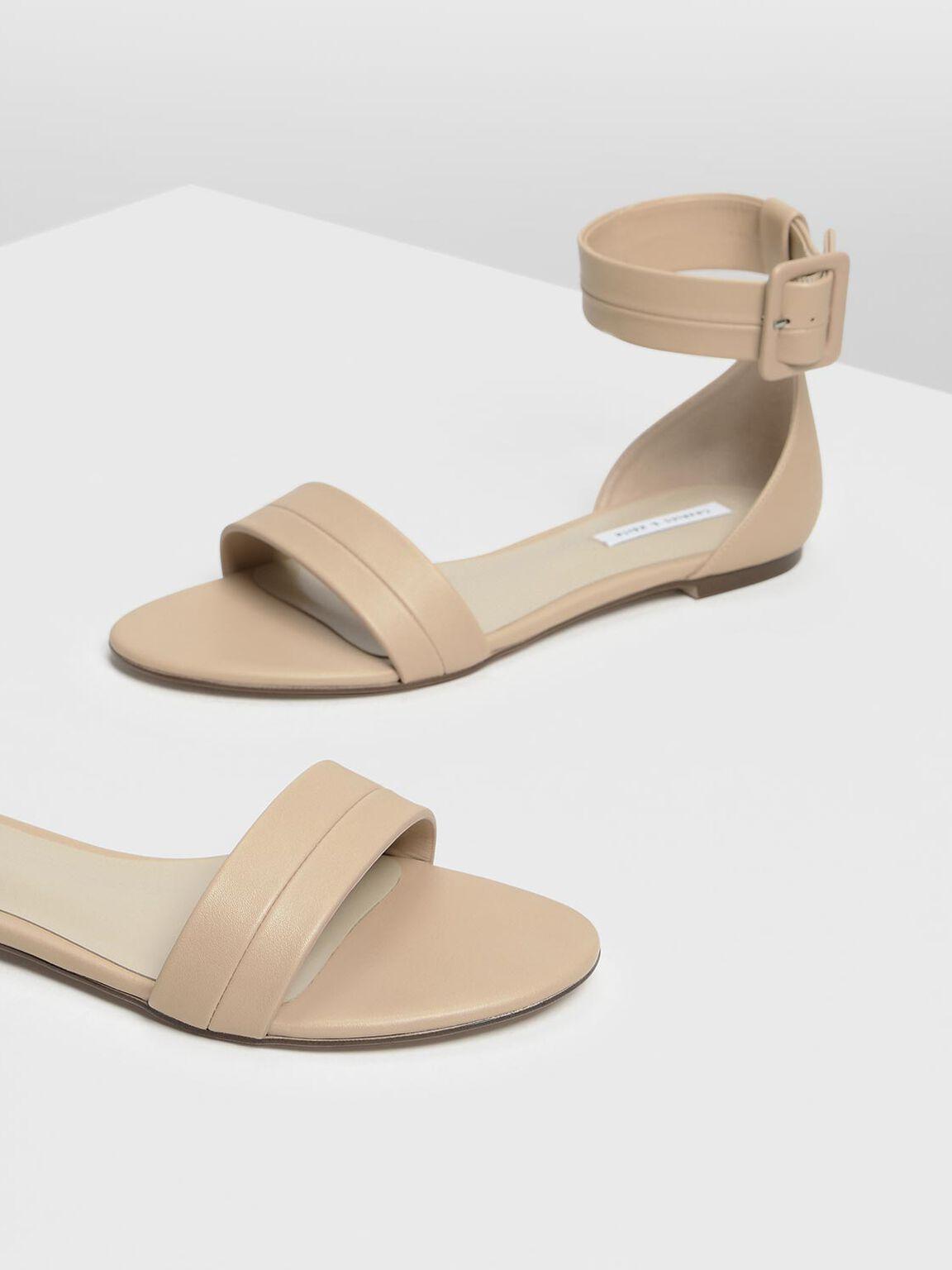 Open Toe Ankle Cuff Sandals, Beige, hi-res
