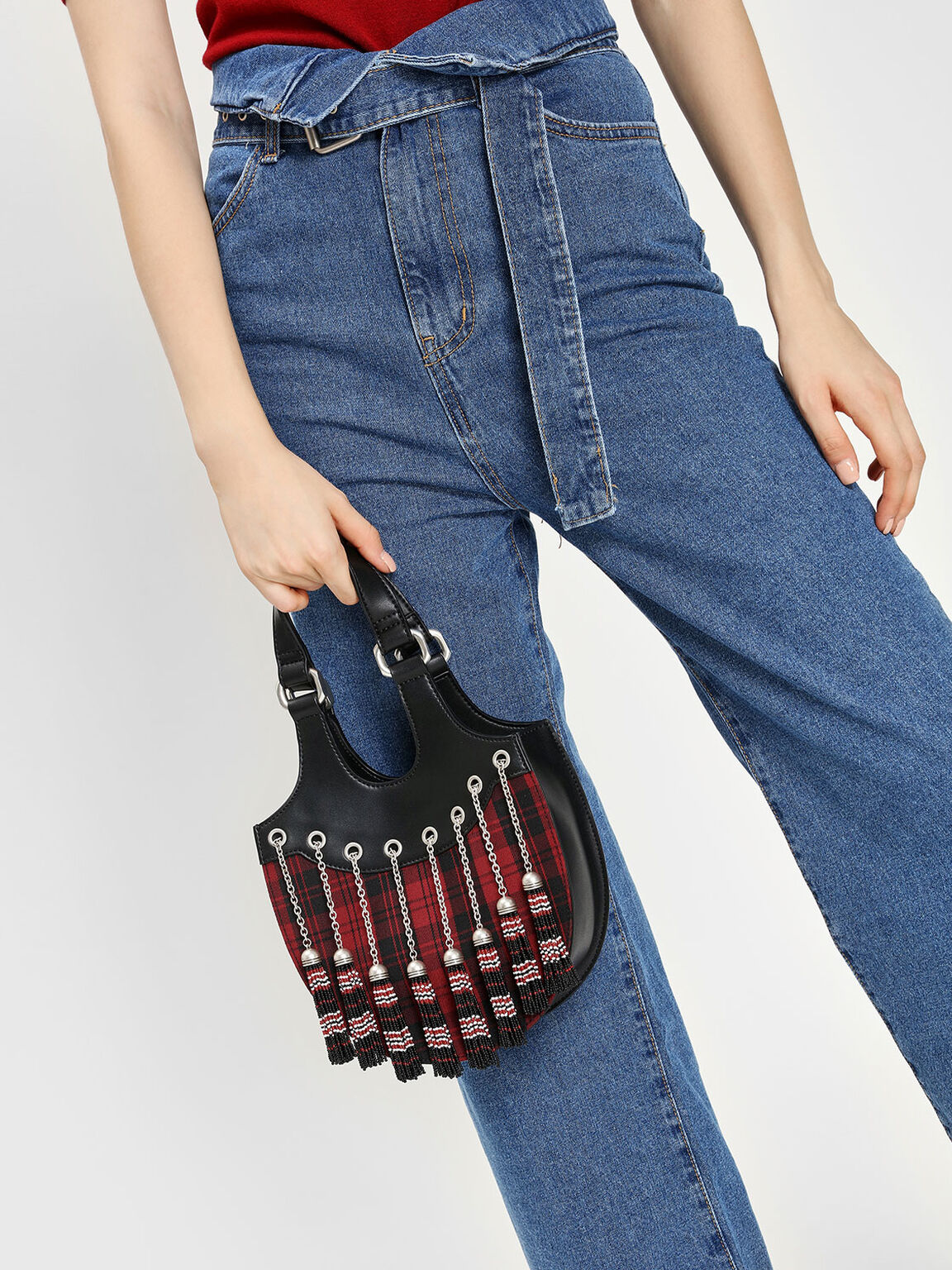 Tassel Detail Hobo Bag, Multi, hi-res
