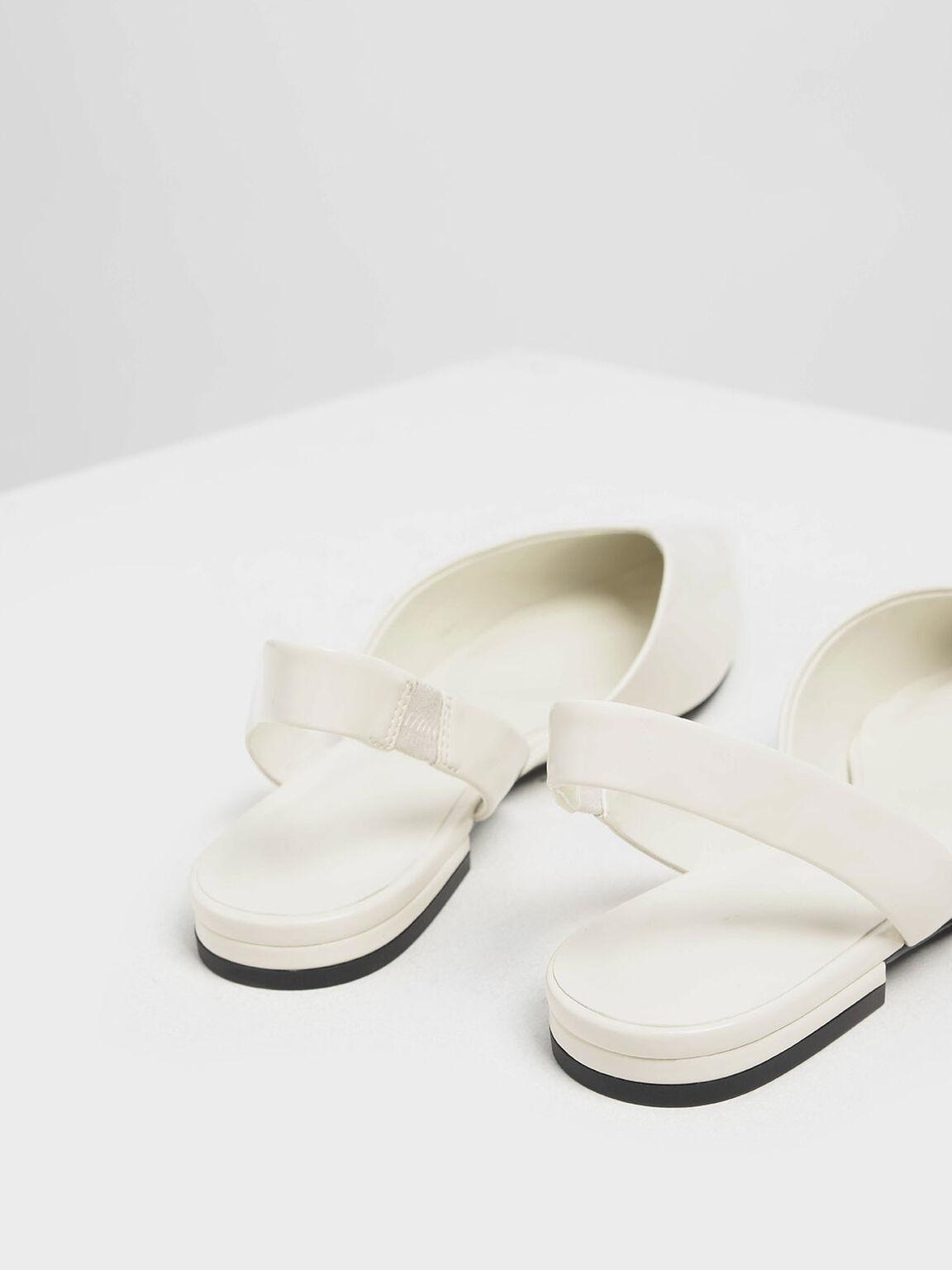 V-Cut Patent Slingback Flats, Cream, hi-res