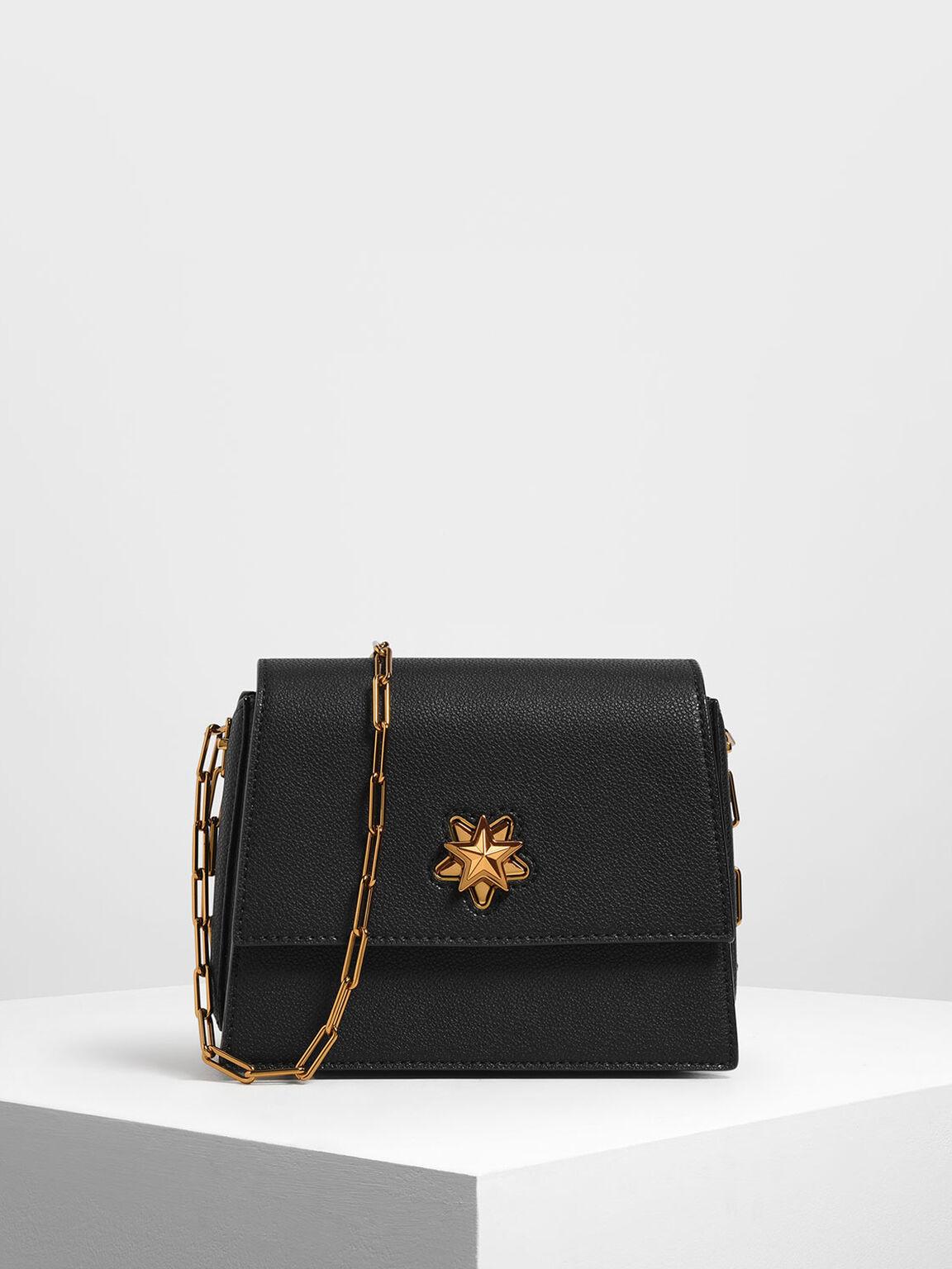 Star Buckle Crossbody Bag, Black, hi-res