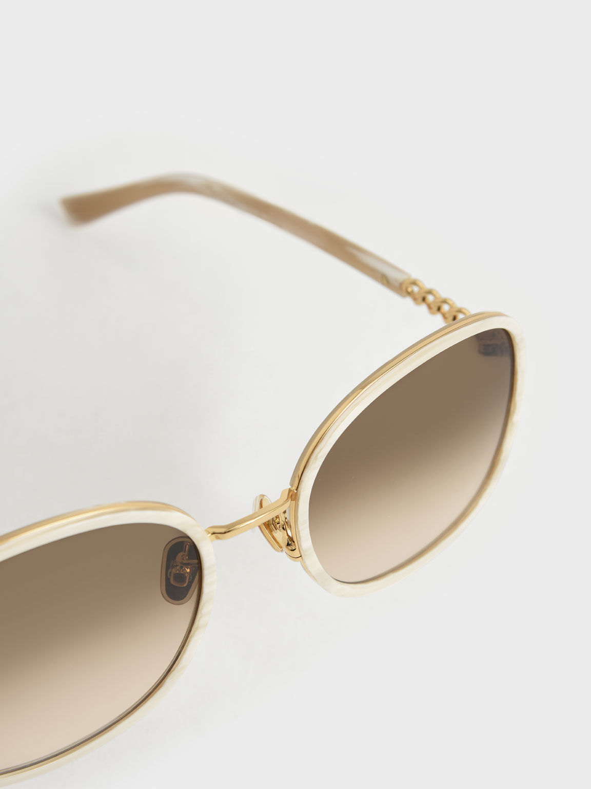 Braided Temple Butterfly Sunglasses, Cream, hi-res