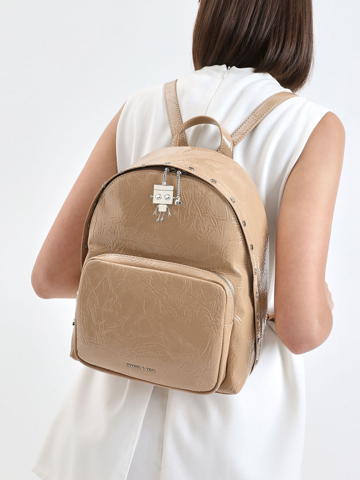 Robot Charm Wrinkled Patent Backpack, Beige, hi-res