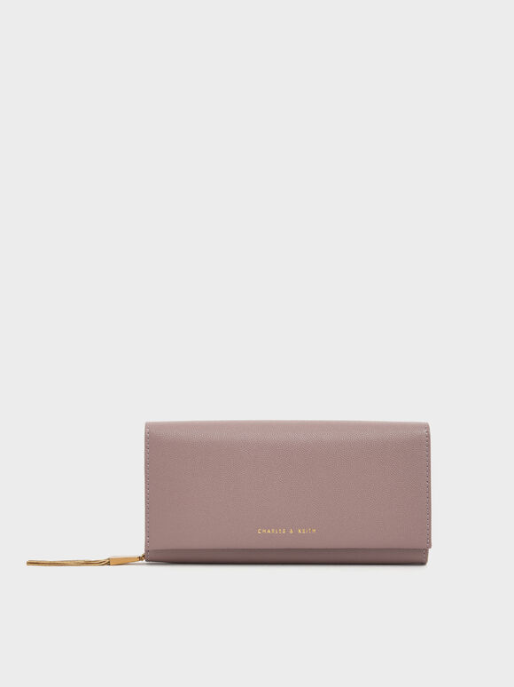 Metal Tassel Classic Long Wallet, Mauve, hi-res