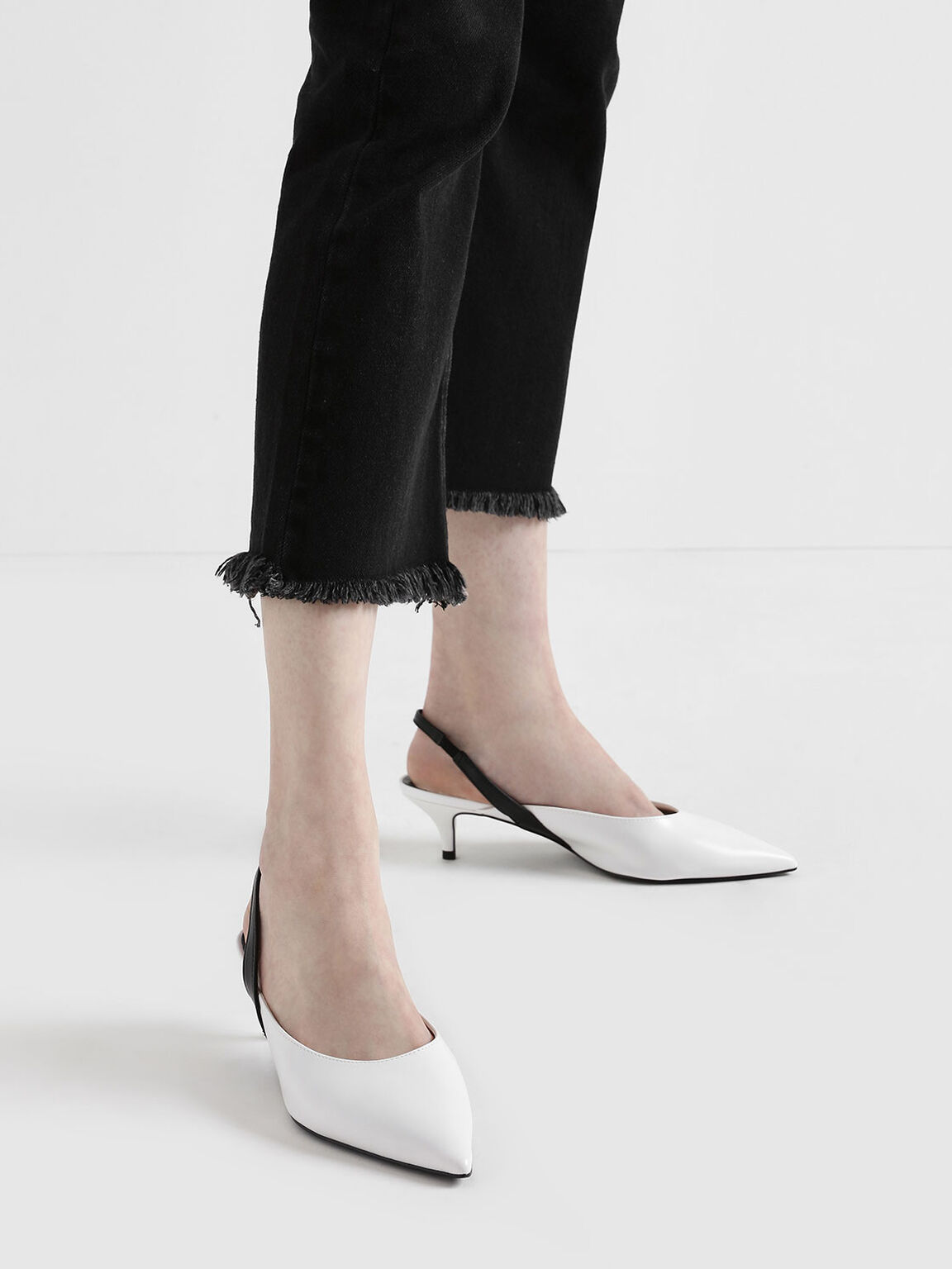 Two-Tone Pointed Toe Slingback Kitten Heels, White, hi-res