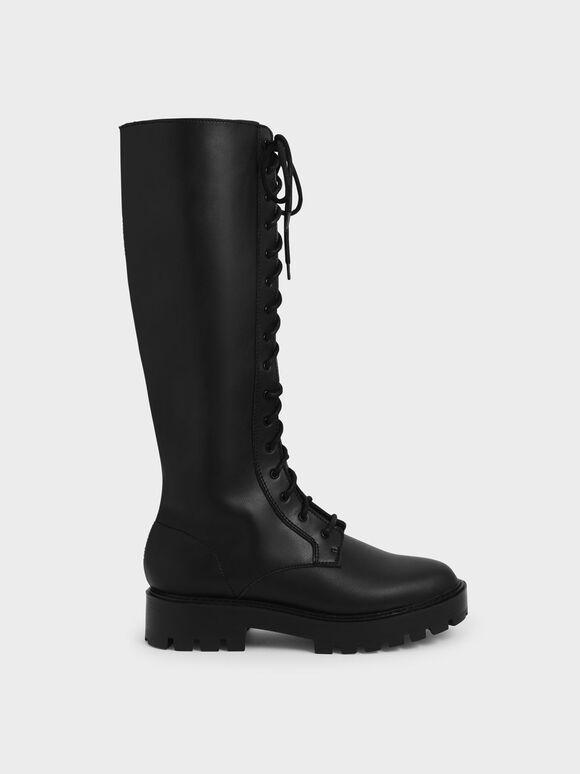 厚底綁帶及膝靴, 黑色, hi-res