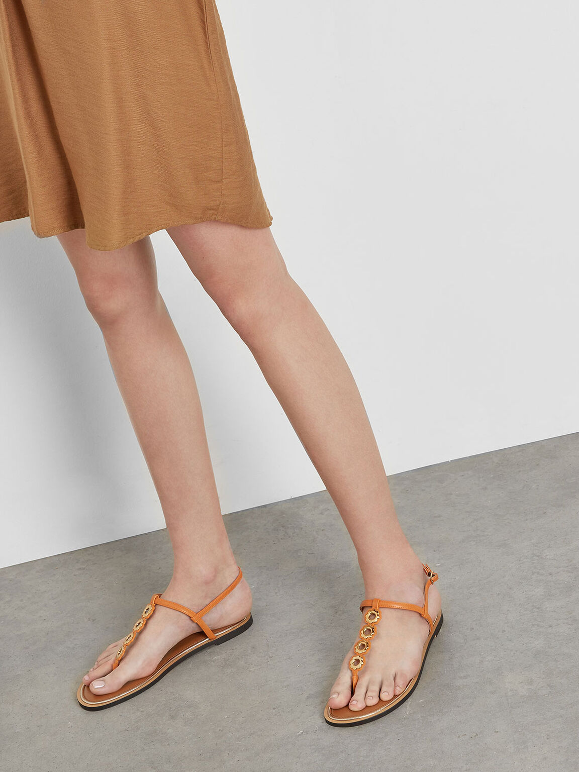 T-Bar Eyelet Sandals, Orange, hi-res