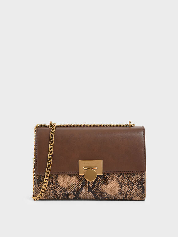Snake Print Chain Strap Clutch, Brown, hi-res
