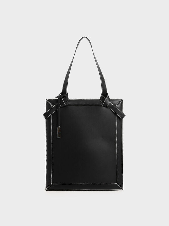 Large Knot Handle Elongated Tote, Black, hi-res