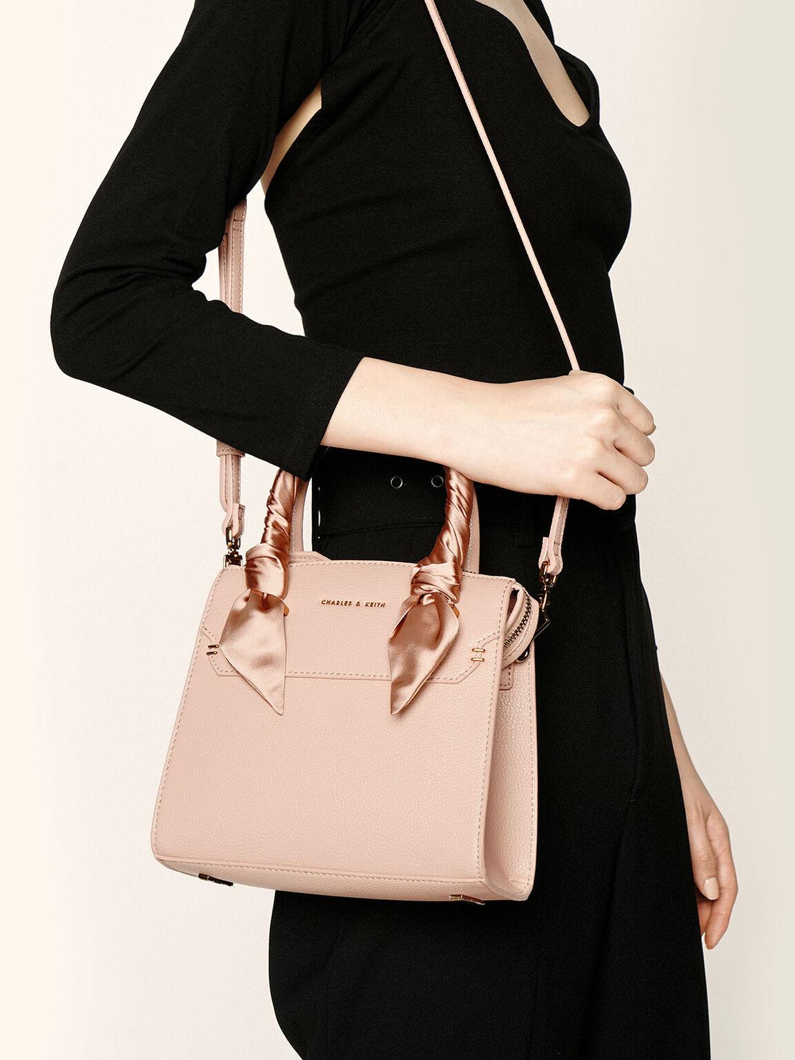 Satin Scarf Top Handle Bag, Nude, hi-res