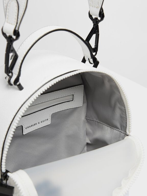 Mesh Detail Backpack, White