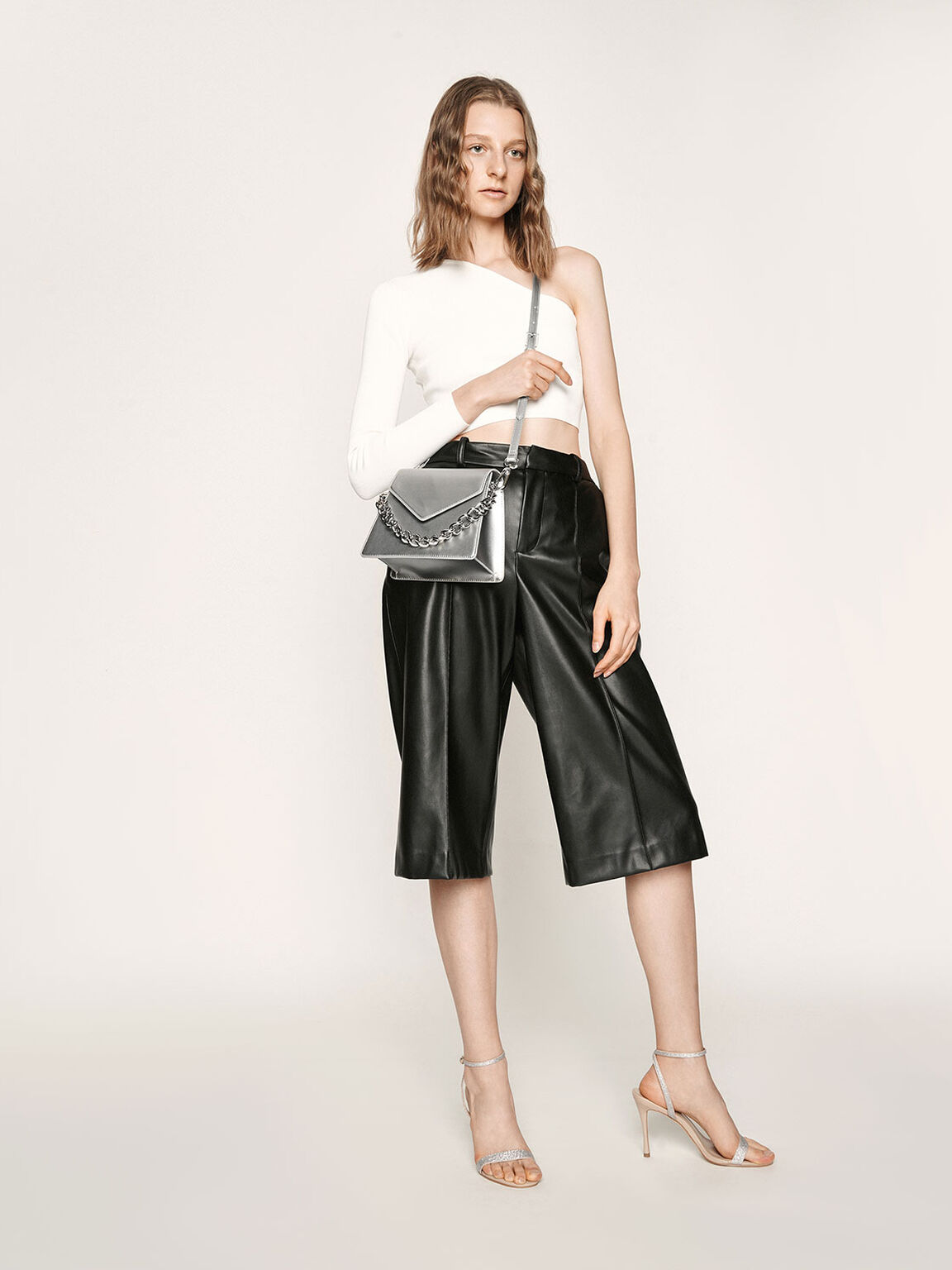 Metallic Angular Crossbody Bag, Silver, hi-res
