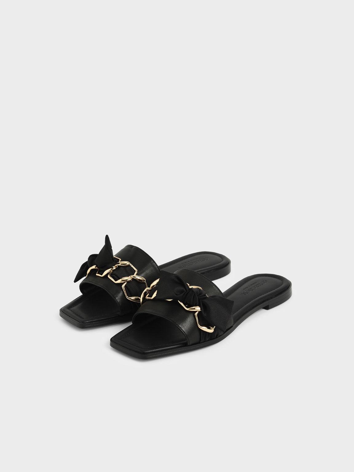 金屬編織真皮拖鞋, 黑色, hi-res