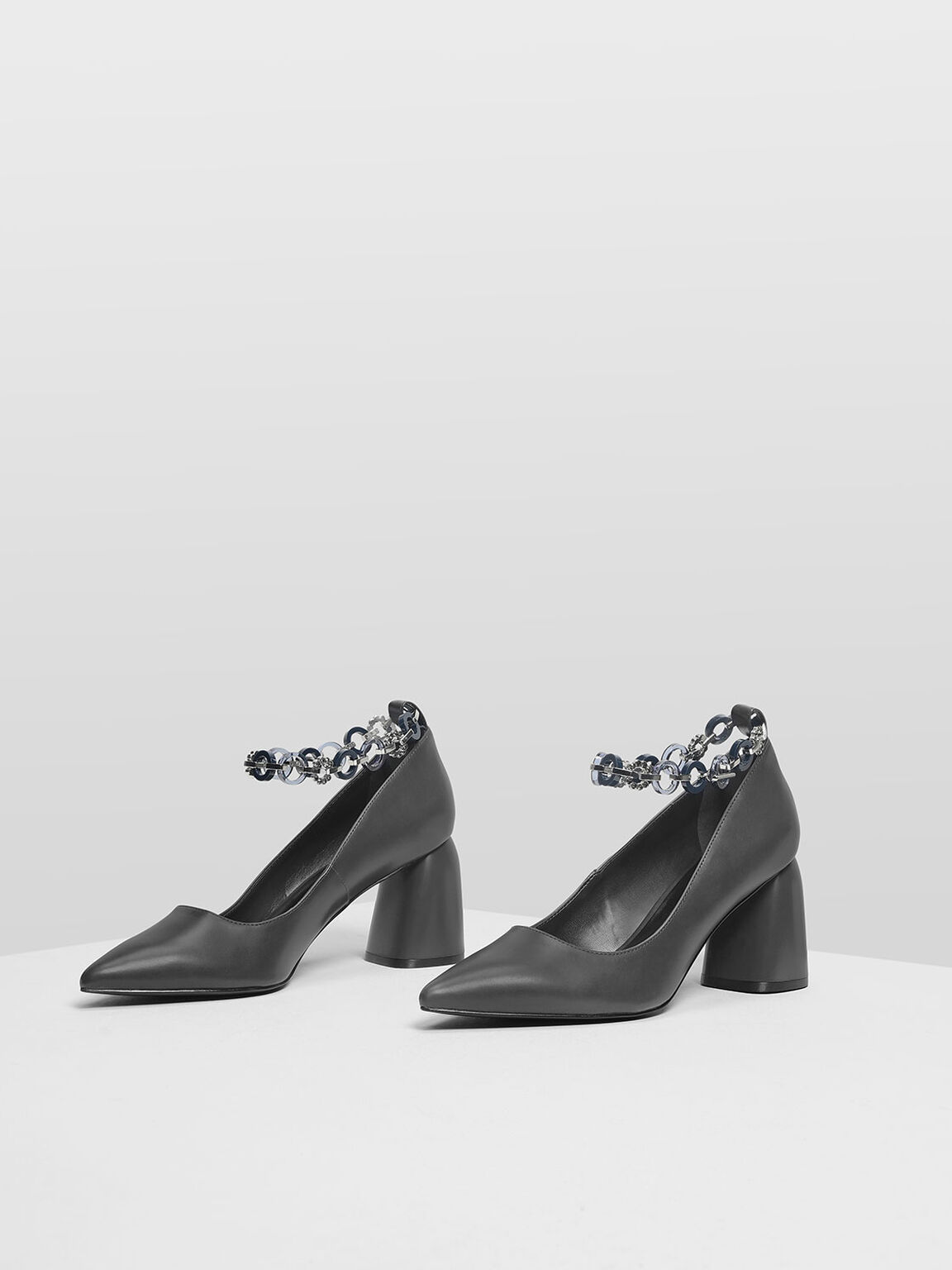 Chain Anklet Detail Pumps, Grey, hi-res