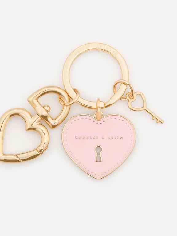 Heart Lock Keychain, Pink