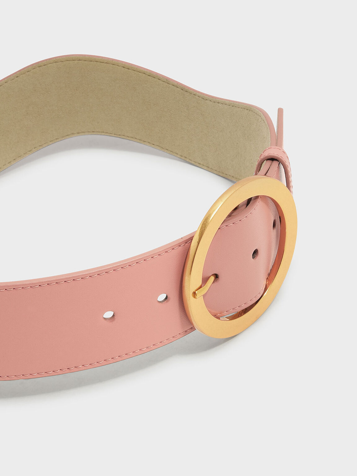 Oversized Circular Buckle Belt, Blush, hi-res