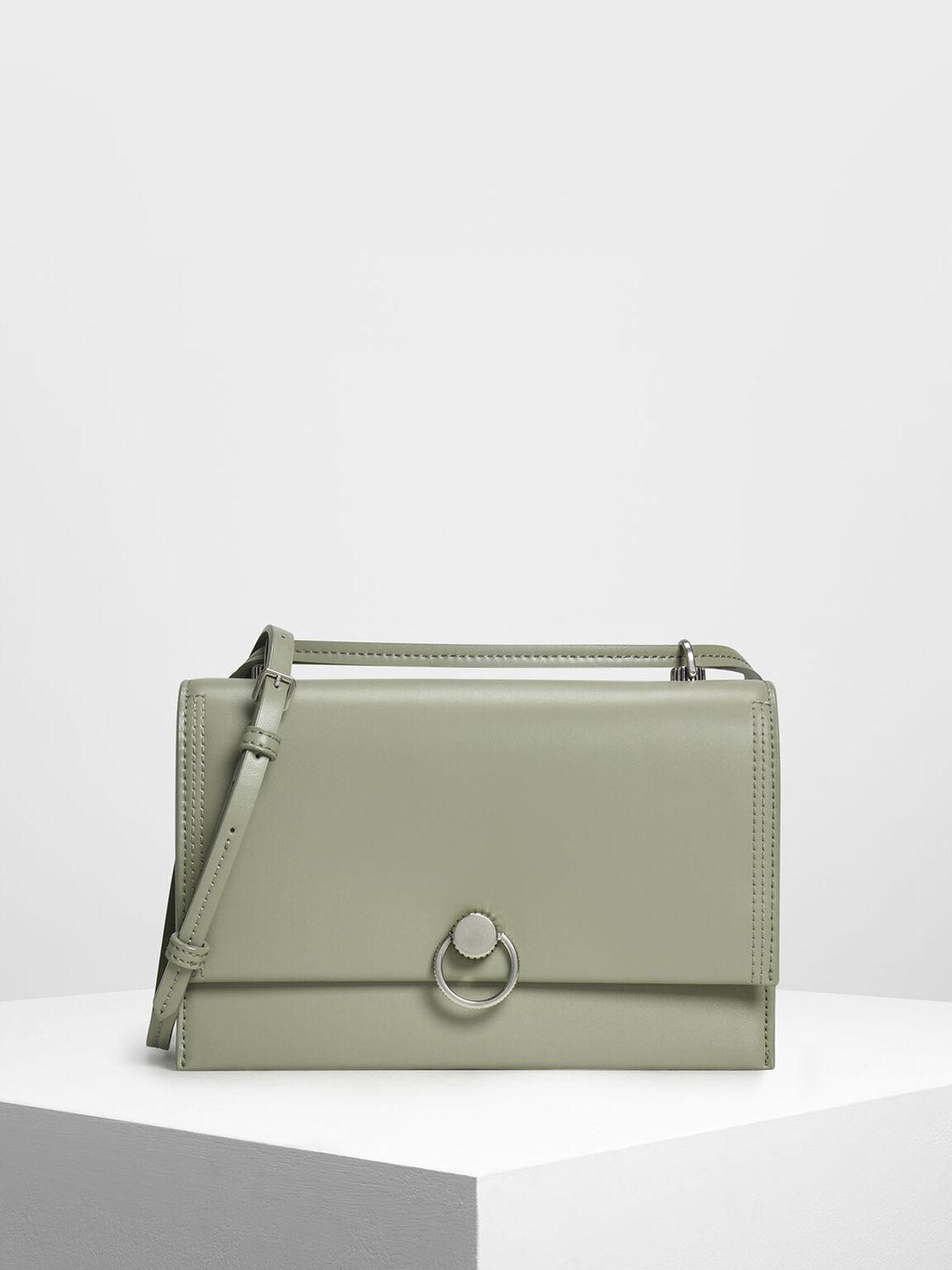 Double Strap Shoulder Bag, Sage Green, hi-res