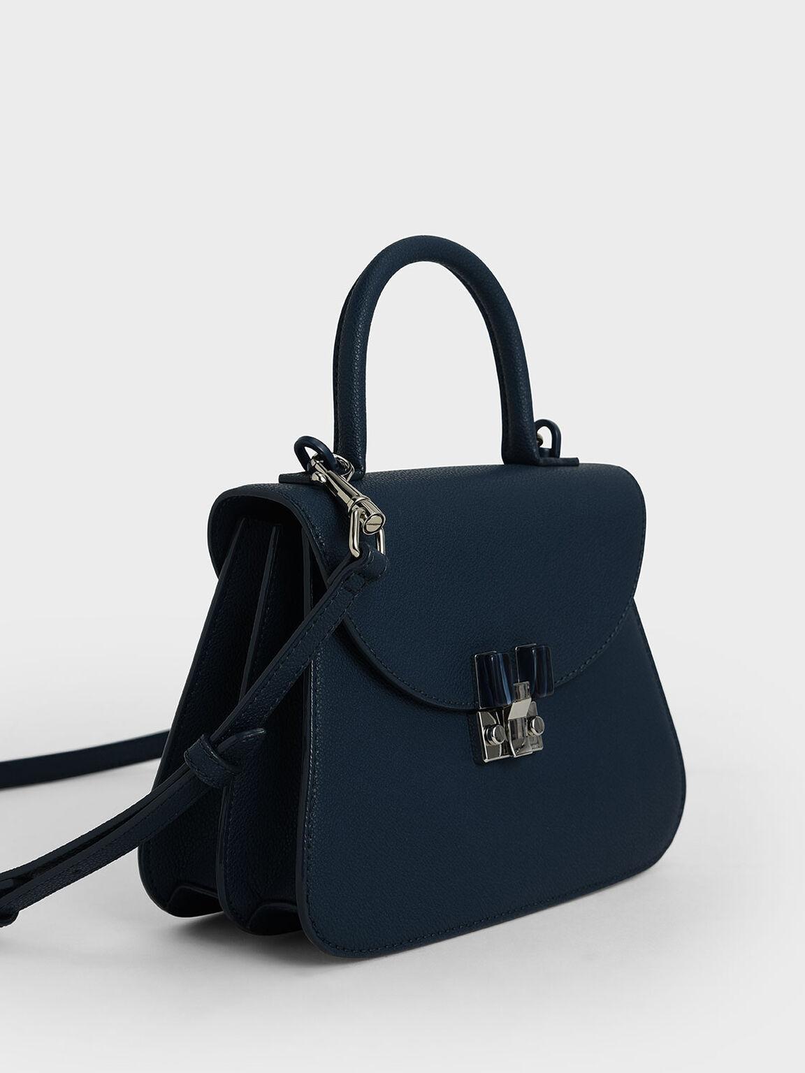 Stone-Embellished Sculptural Bag, Blue, hi-res