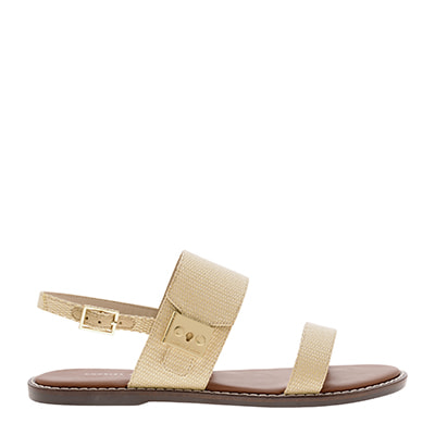 RAFFIA METALLIC BUCKLE SANDALS