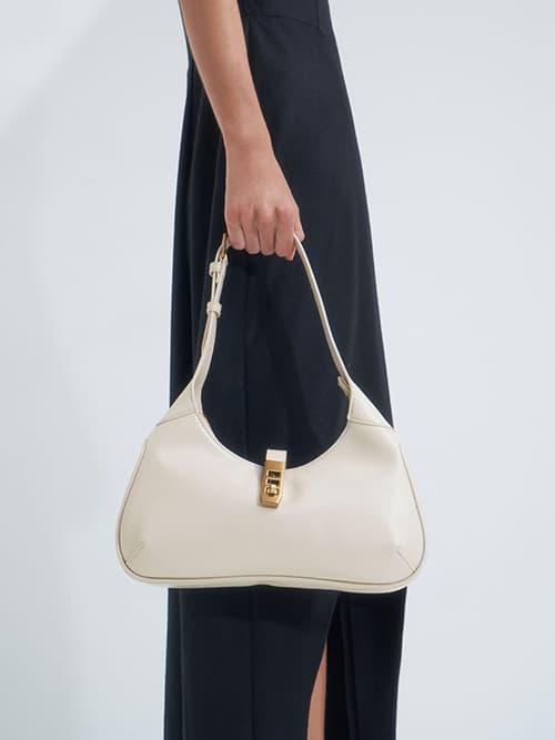 Metallic Accent Hobo Bag, Cream