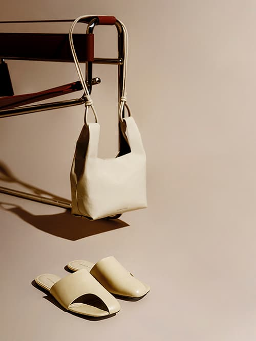 Cut-out Slide Sandals, Chalk;   Patent Square Handle Tote Bag, Beige