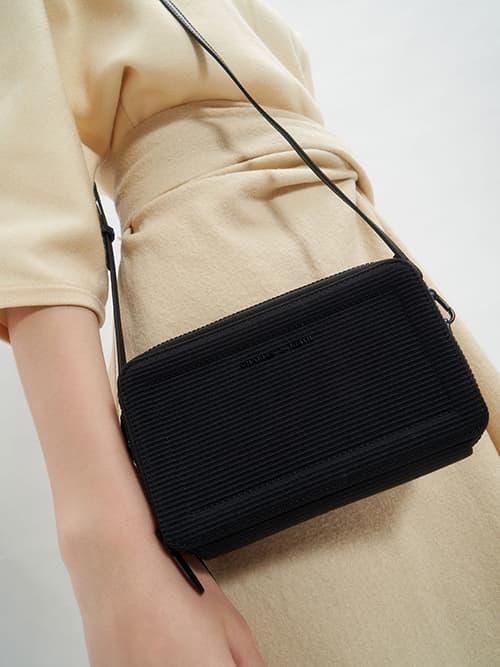 雙雙拉鍊手拿包,黑色
