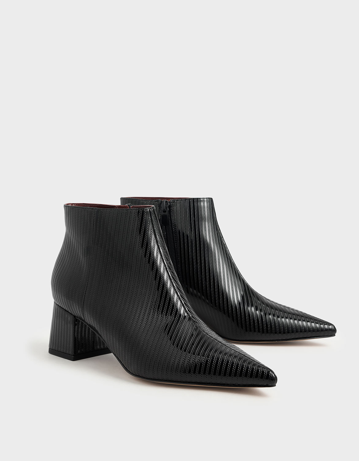 Women's black textured patent ankle boots – CHARLES & KEITH