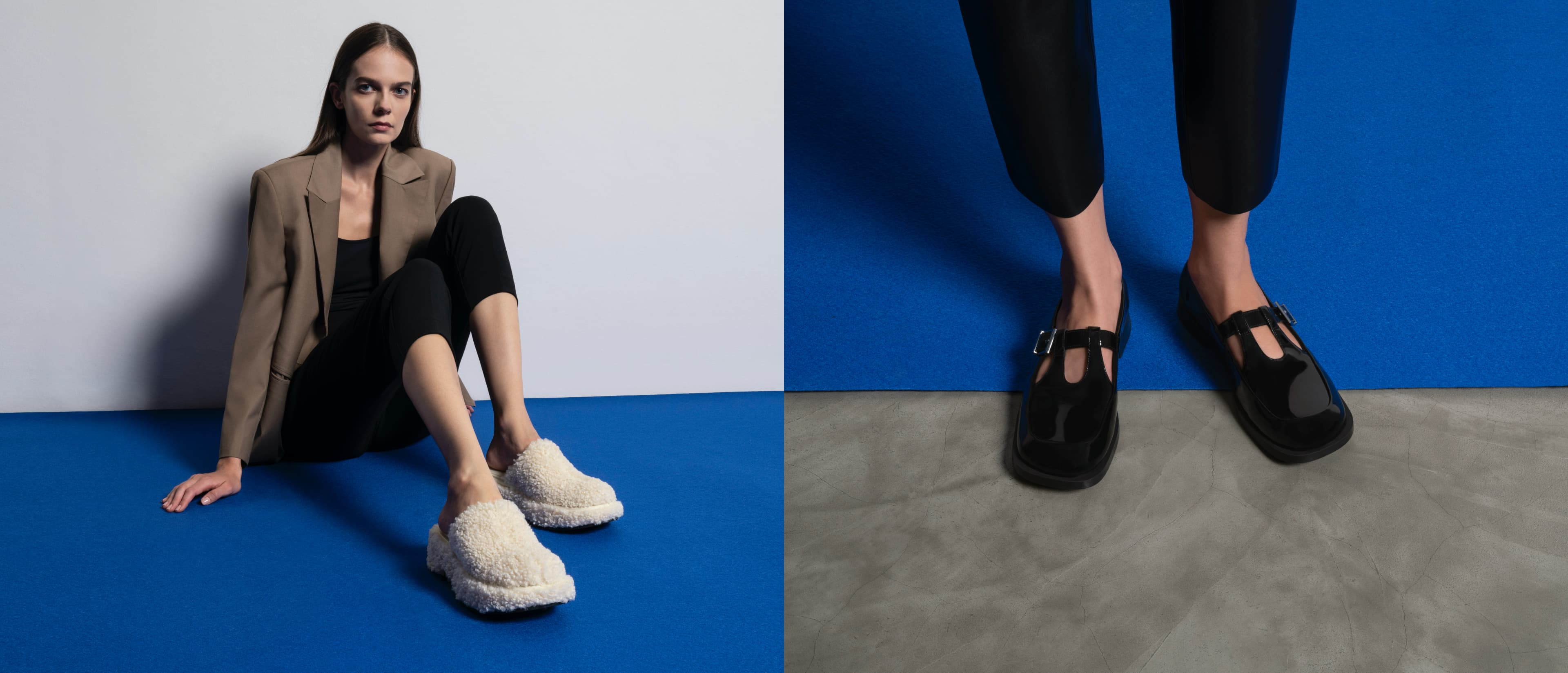 Women's furry platform clogs in chalk and Mary Jane buckle loafers in black - CHARLES & KEITH