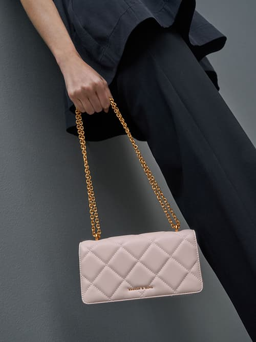 Chain Handle Quilted Long Wallet, Light Pink