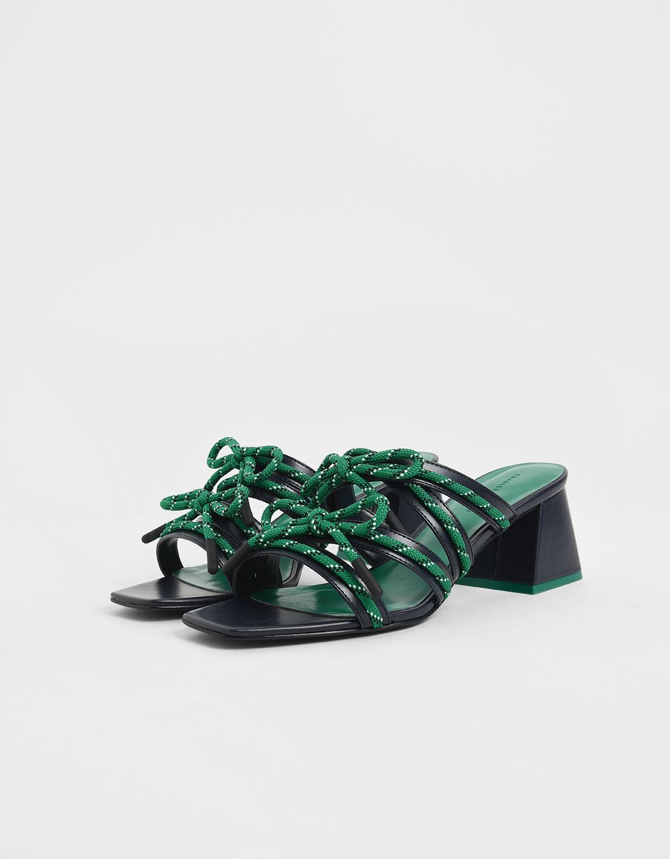 Women's nylon lace strap slide sandals in dark blue