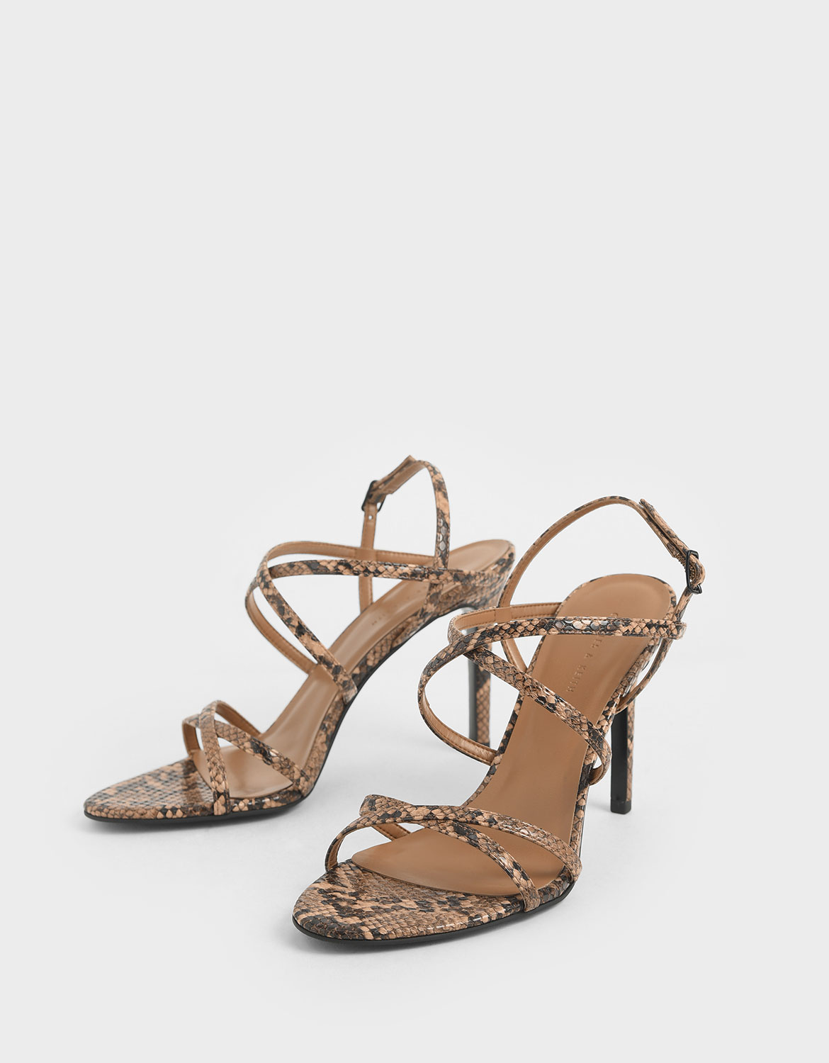 Women's brown snake print criss cross strappy stiletto heels – CHARLES & KEITH