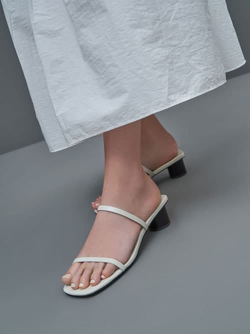 Double Strap Cylindrical Heel Mules, Chalk
