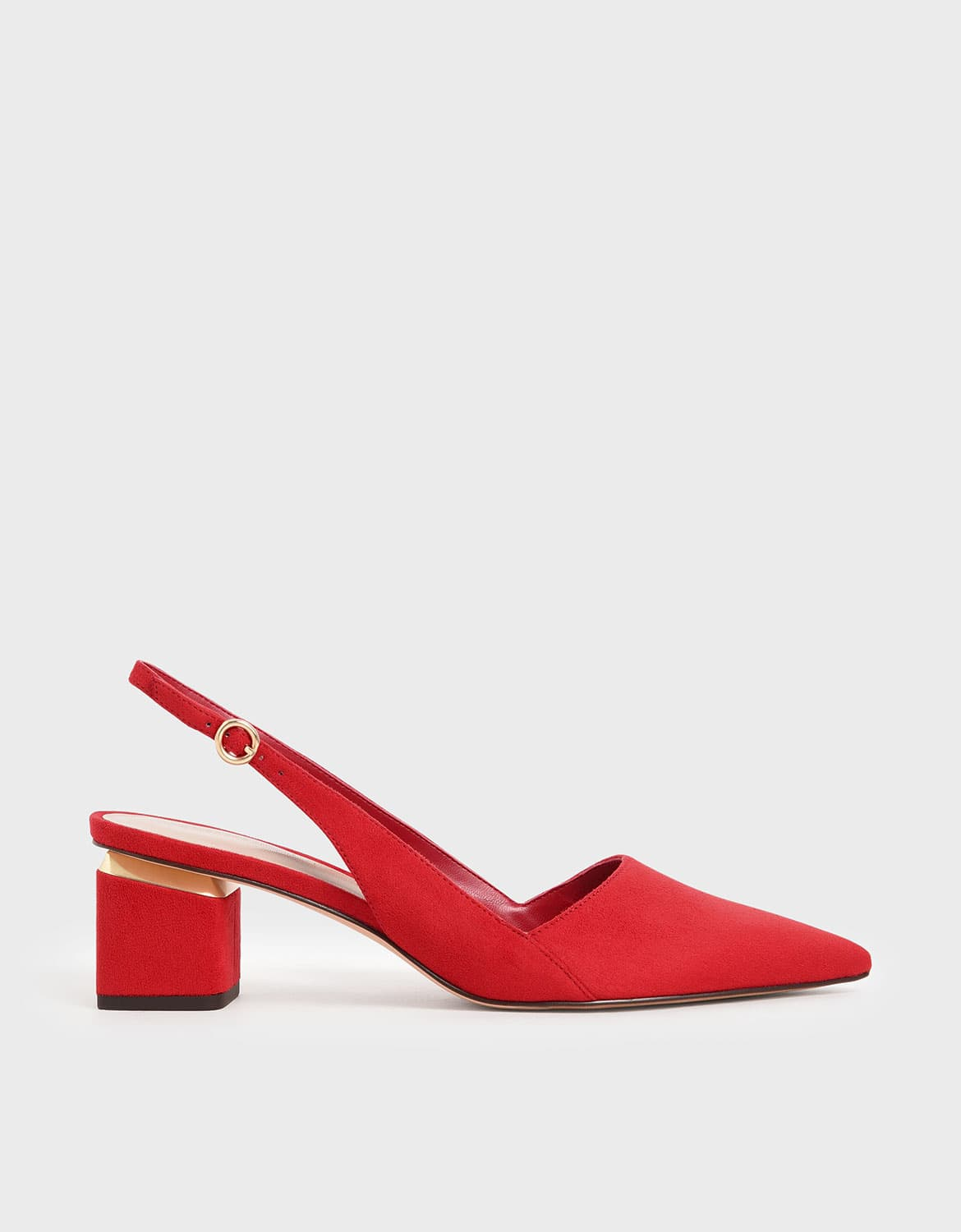 Women's pointed textured slingback heels in red – CHARLES & KEITH