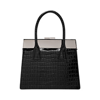 Croc-Effect Leather Top Handle Bag