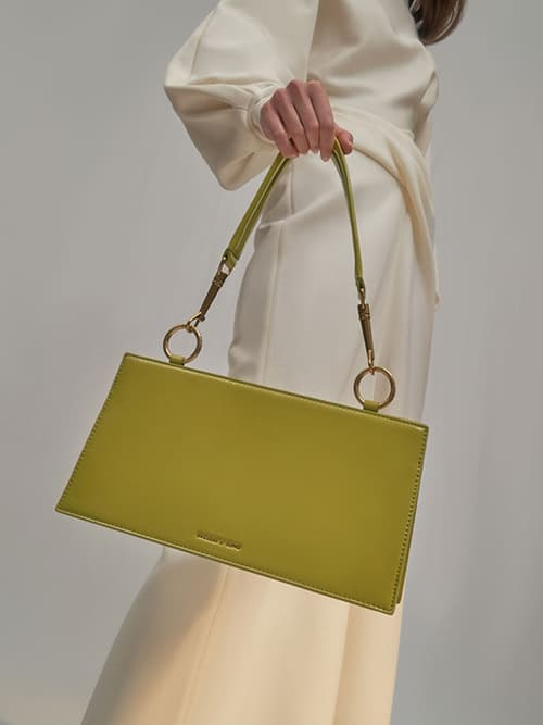 Ring Detail Shoulder Bag, Moss