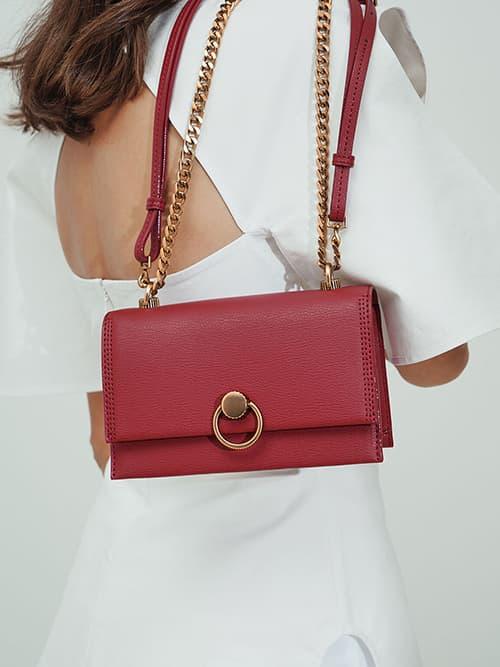 Ring Push-Lock Shoulder Bag, Rose