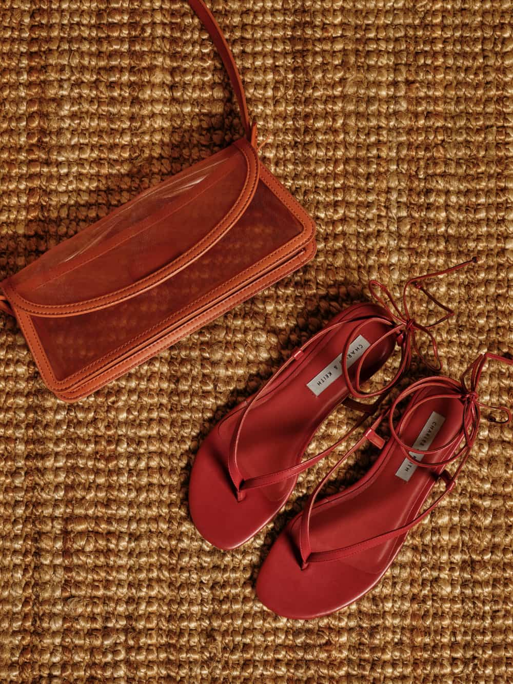 Women's orange mesh shoulder bag and red tie-around thong sandals -CHARLES & KEITH