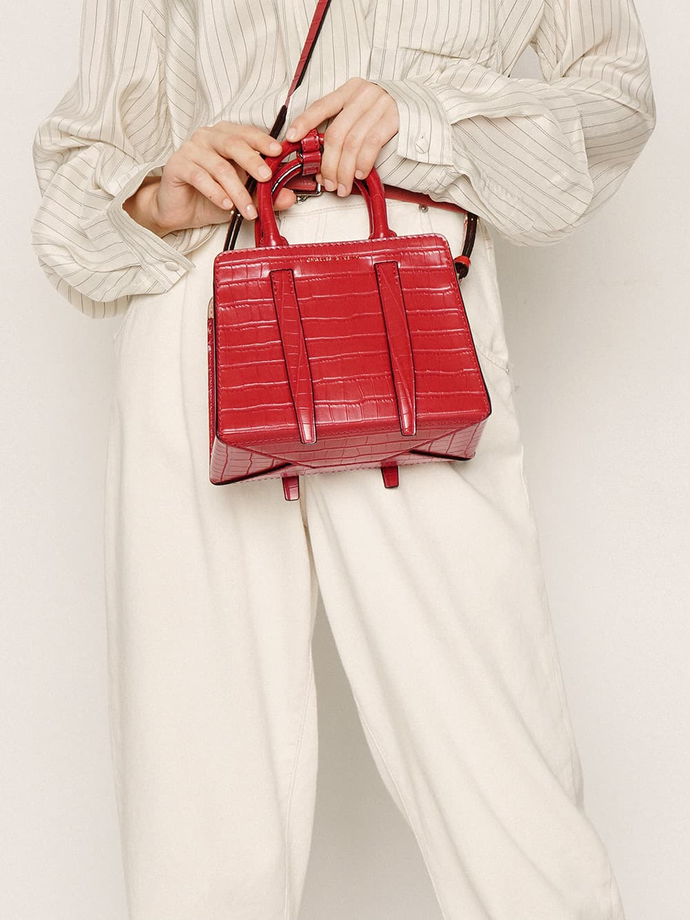 Women's red croc-effect top handle bag - CHARLES & KEITH