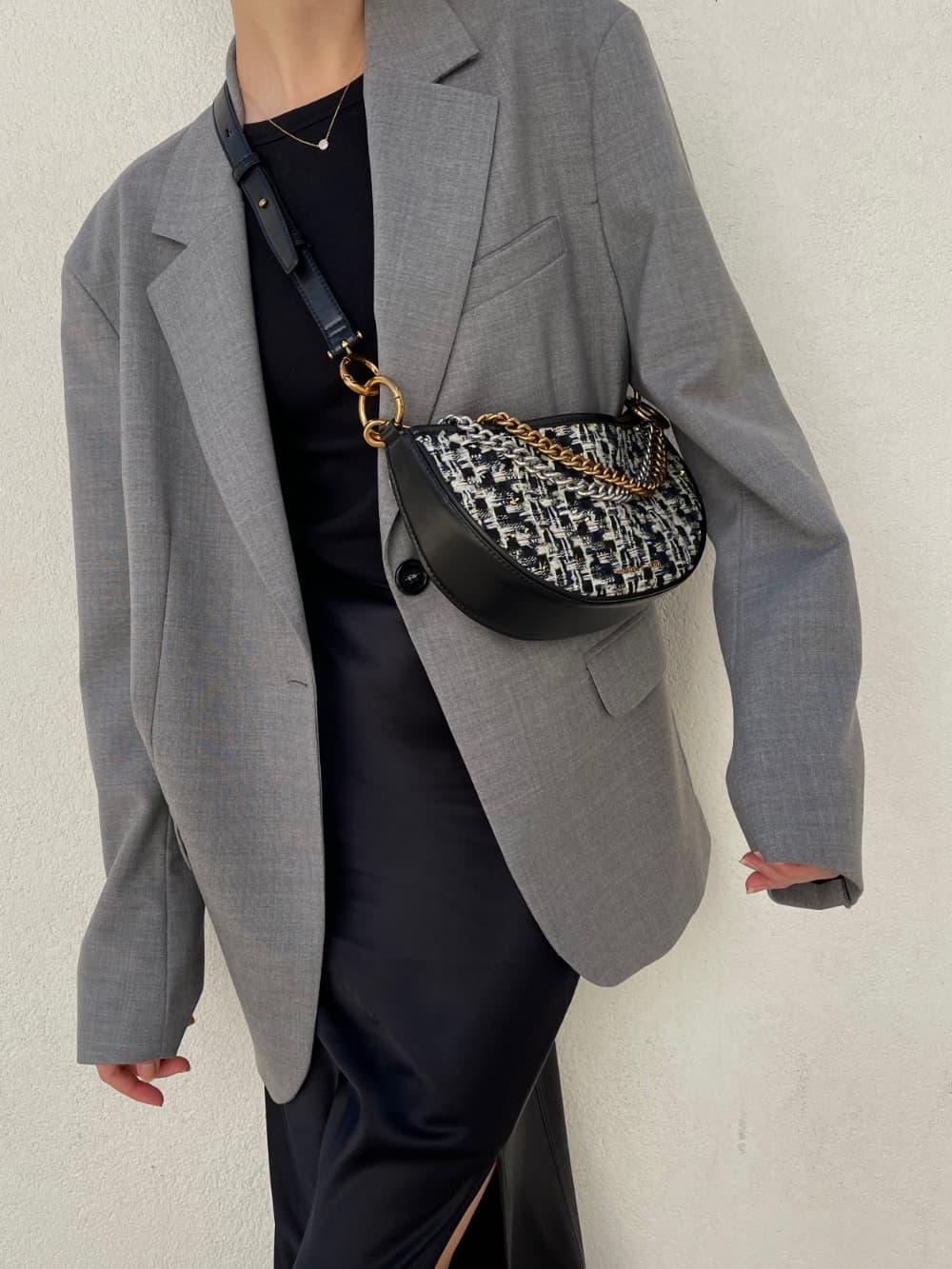 Women's tweed crescent crossbody bag in navy - CHARLES & KEITH