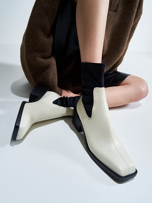 Two-Tone Sock Boots, Chalk