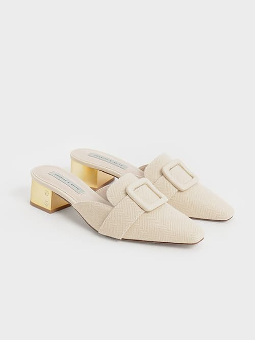 Woven Buckled Mules, Beige