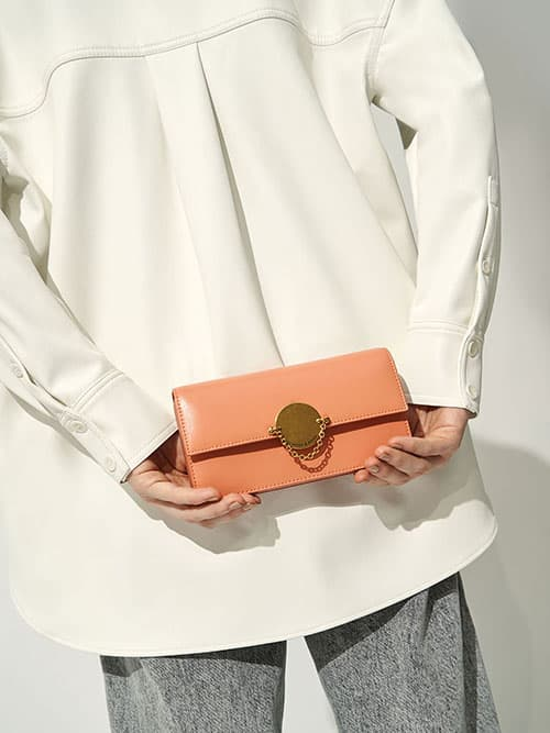 Metallic Push-Lock Wallet, Peach