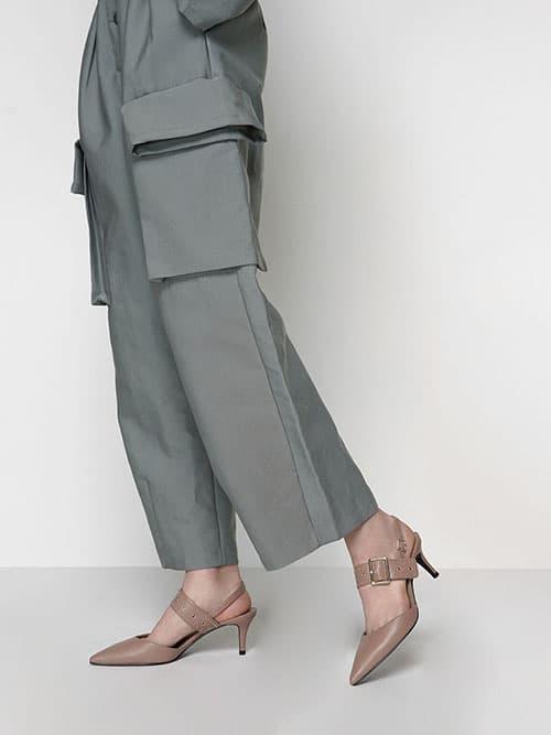 Metallic Accent Slingback Court Shoes, Black