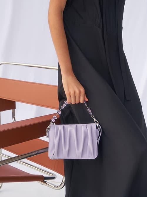 Beaded Strap Ruched Shoulder Bag, Lilac