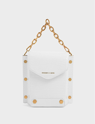 CROC-EFFECT STUD DETAIL BAG