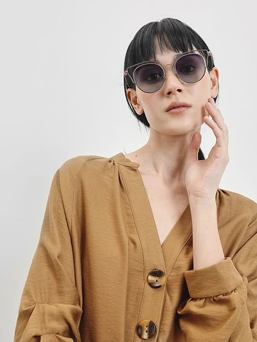 Double Frame Wingtip Sunglasses, Gold