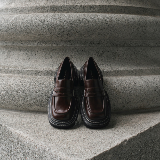 Women's Perline chunky penny loafers in dark brown - CHARLES & KEITH