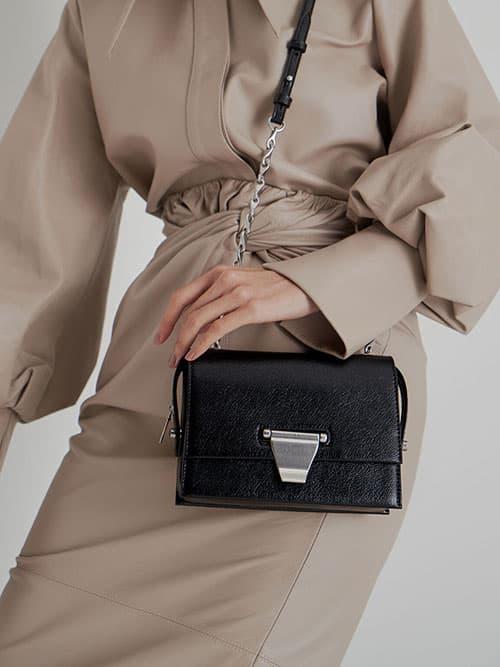 Metal Push-Lock Crossbody Bag, Black