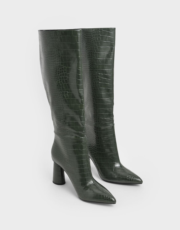 Women's croc-effect knee high heeled boots in green