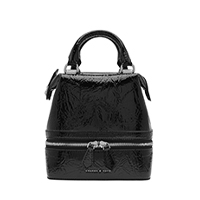 WRINKLED PATENT TWO WAY ZIP BOXY BAG