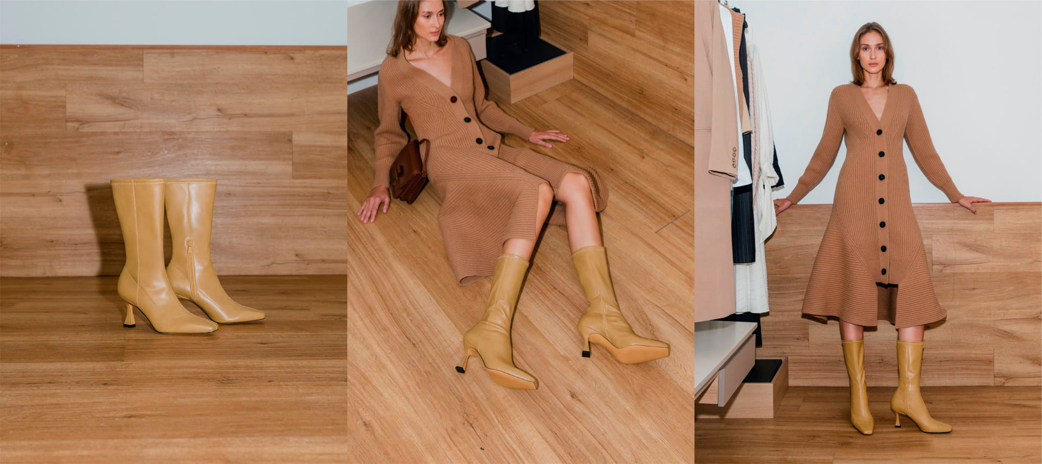 Women's spool heel calf boots in camel – CHARLES & KEITH
